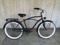 Toldi Cruiser - Férfi cruiser kerékpár - 3 sebességes agyváltós - kontrás bicikli - Matt fekete színben