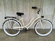Toldi Cruiser - Női cruiser kerékpár - 3 sebességes agyváltós - kontrás bicikli - Krém színben