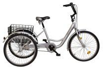 """Koliken Gommer Camping kerékpár - 24"""" - háromkerekű camping kerékpár - 1 sebességes kivitel - Ezüst"""