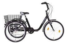 """Koliken Gommer háromkerekű Camping kerékpár - 24"""" - 6 sebességes kivitel - Fekete"""