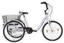 """Koliken Gommer háromkerekű Camping kerékpár - 24"""" - 6 sebességes kivitel - Ezüst"""
