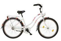 Koliken Cruiser Női Kontrás Kerékpár - Virágos fehér színben - 1 sebességes