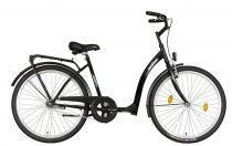 Időseknek - Koliken Hunyadi kontrás kerékpár (alacsony átlépésű) - vékony vázas -  Fekete