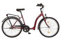 Időseknek - Koliken Hunyadi kontrás kerékpár (alacsony átlépésű) - vékony vázas - Piros