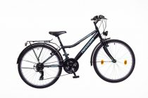 """Neuzer Bobby City 24"""" Gyermek kerékpár - 18 sebességes - Fiú - Fekete/celeste-zöld"""