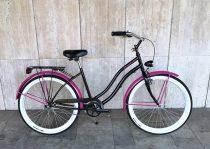 Toldi Cruiser - Női cruiser kerékpár - 1 sebességes - kontrás bicikli - Fekete-pink színben