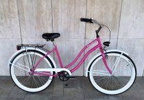 Toldi Cruiser - Női cruiser kerékpár - 1 sebességes - kontrás bicikli - Pink-fehér színben